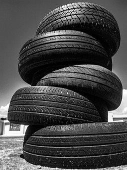 Tires, Tyres, Rubber, Car, Monochrome, Transport