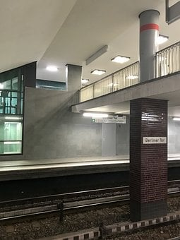 Metro, Hamburg, Railway Station, Architecture, U4, Stop