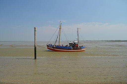 Fishing Boat, Fishing Vessel, Wadden Sea, Fairway, Ebb