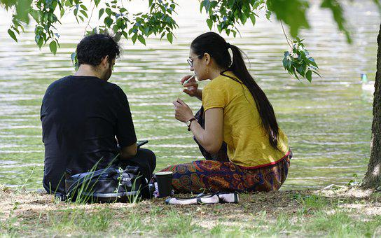 Couple, Young People, People, Place, Green Grass, Park