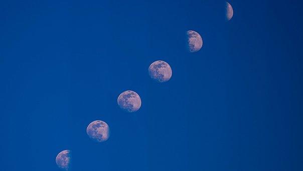 Moon, Blue Er Sky, Multiple Exposure, Advertising, Work