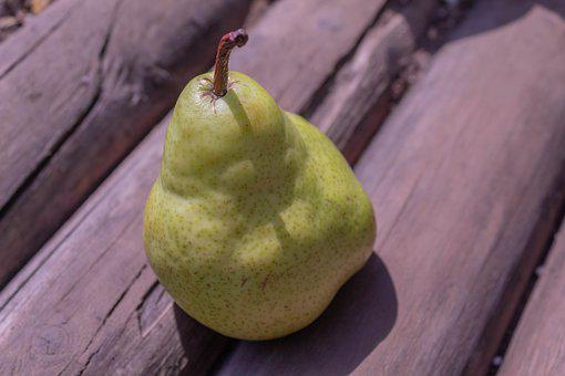 Pear, Fruit, Food, Wooden Background, Sun, Outdoors