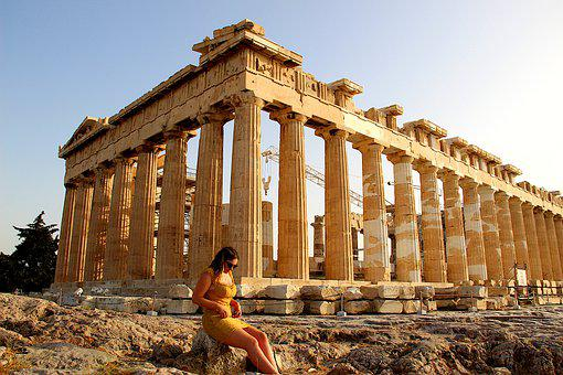 Acropolis, Athens, Greece, Girl, Model, Parthenon
