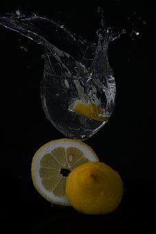 Black Background, Lemons, Water, Drink, Glass