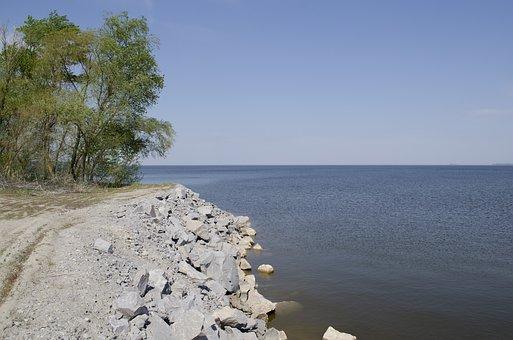 Beach, Stones, Water, Lake, Trees, Sky