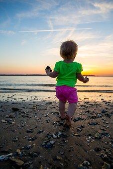 Sunset, Girl, Child, Sea Shells, Walking, Beach, Ocean