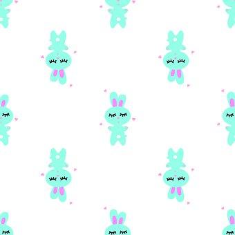 Hare, Bunny, Pattern, Illustration Kids, Easter, Animal