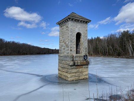 Reservoir, Water, Tower, Landscape, Lake