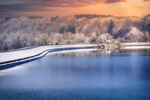Reservoir, Dam, Winter, Water, Landscape, Building