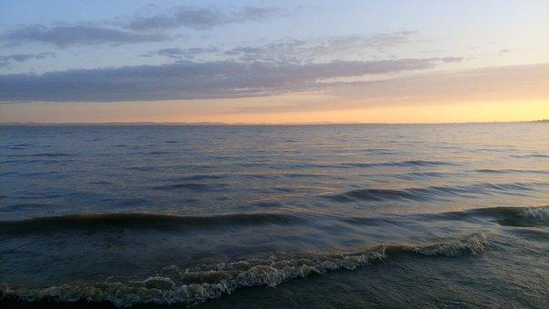 Wave, Water, River, Lake, Sea, Sunset, Evening, Mood