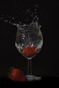 Black Background, Strawberries, Water, Drink, Glass