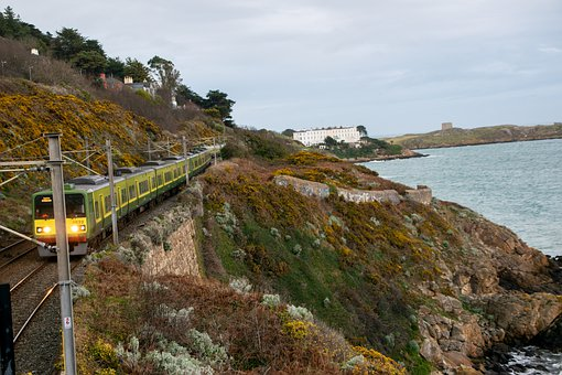 Train, Dublin, Sea, Ocean, Ireland, Water, Coast
