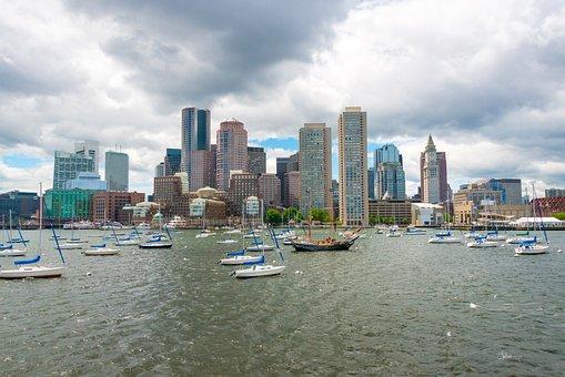 Boston, Atlantic, Skyscraper, City, View, Water