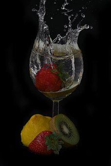 Black Background, Water, Water Glass, Vitamins, Fruit