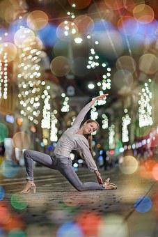 Swing, Advent, Lights, Woman, Road, Bokeh, Dance, Pose