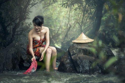 Asia, Woman, Bath, Washing Clothes, Cambodia, Culture