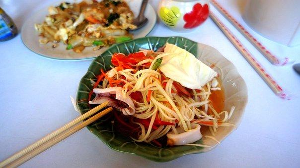 Salad, Papaya, Squid, Dish, Chopsticks, Food, Appetizer