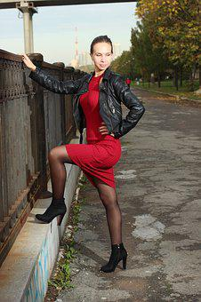 Woman, Young, Model, Fashion, Leather Jacket, Red Dress