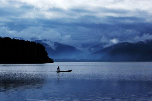Lugu Lake, Early In The Morning, Fishing, Fishing Boats
