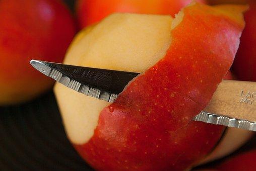 Apples, Knife, Fruit, Peel, Skin