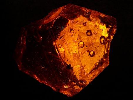 Gem, Amber Stone, Fossilized Resin, Gemstone