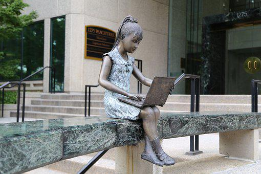 Girl, Laptop, Studying, Computer, Female, Statue