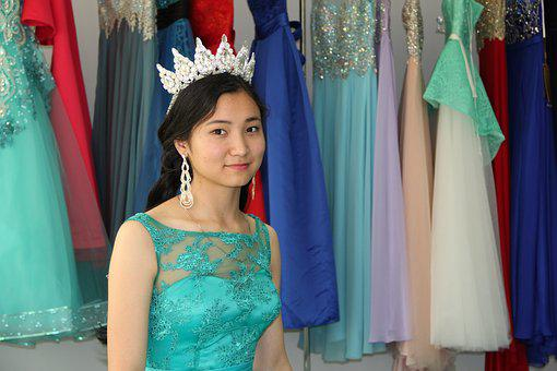Evening Dresses, Crown, Woman, Young, Kazakh, Astana