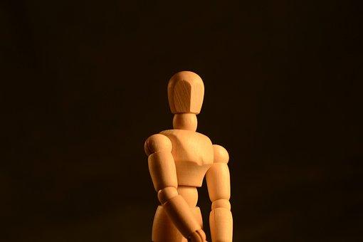 Figure, Posing, Body, Wooden, Shape, Low Key, Posture