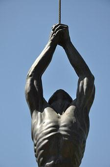 Santiago, Chile, Sculpture Park, Statue, Man, Rope