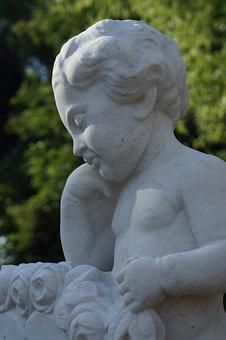 Stone, Marble, White, Figure, Angel, Child, Cherub