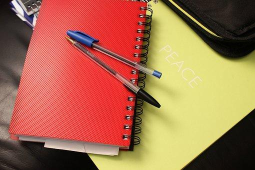 School, Notebook, Binders, Notepad, Book, Pen, Red