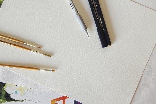Pencil, Brush, Artist, Set, Accessories, Brushes, Paper