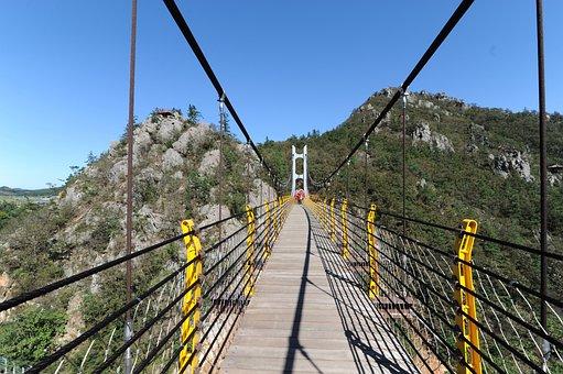 Perspective, Mountain, Suspension Bridge, Bridge