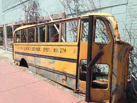 School Bus, Yellow, Rusty