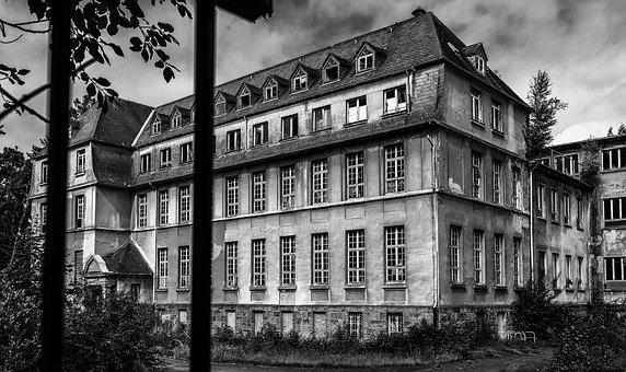 School, Institute, Lost Places, Black And White