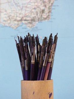 School, Pen, Ink