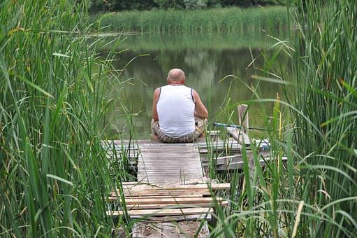 Fishing, Lake, Village, Water, Nature, Man, Male