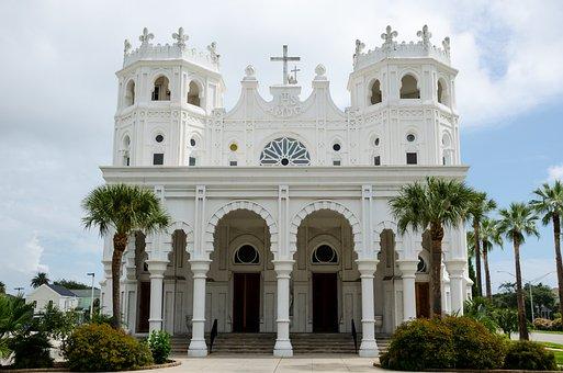 Sacred Heart Church, Church, Usa, America, Texas