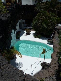 Pool, Rock, Luxury, Field, Sky, Blue, Building