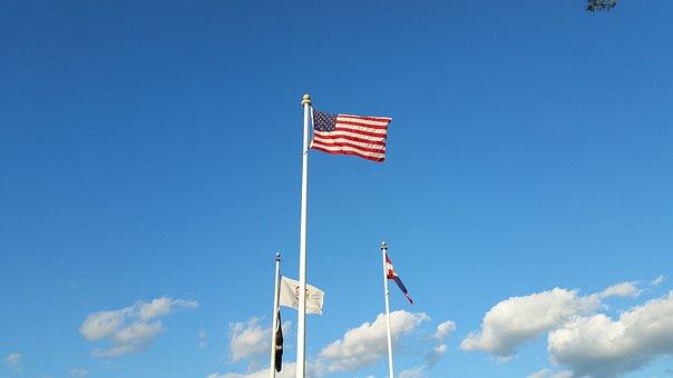 American Flag, Blue Sky, Flag, American, Sky, Blue, Usa
