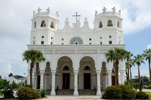 Sacred Heart Church, Church, Usa, America, Texas
