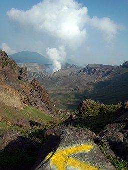 Volcano, Aso, Crater, Blue Sky, Japan, Lava, Summer