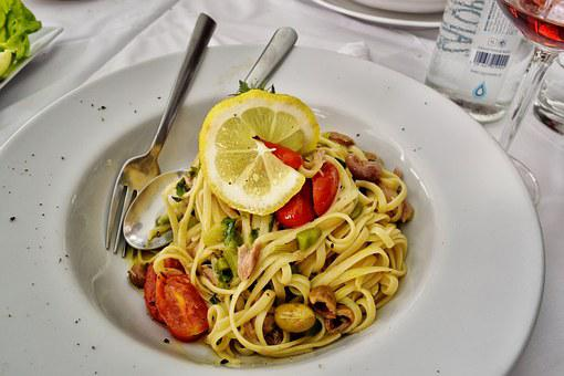 Food, Linguini, Pasta, Tuna, Olives, Dish, Gourmet