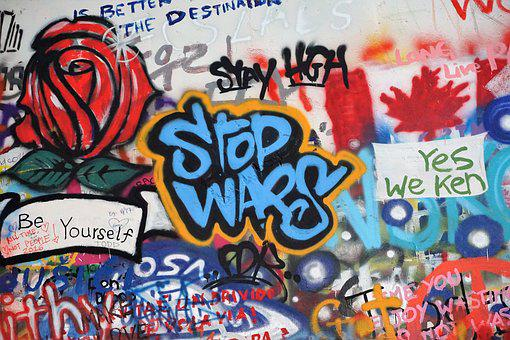 Anti-war, Grafitti, John Lennon Wall, Prague