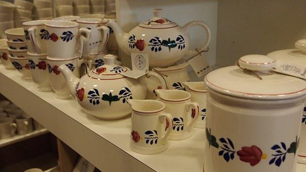 Kitchenware And Tableware, Tea Pot, Milk Jug, Flowers