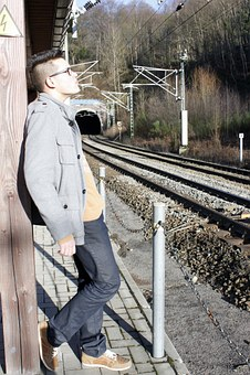 Man, Train, Sad, Railway, Rails, Transport, Gleise