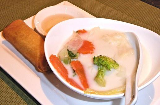 Coconut Thai Soup, Vegetable Spring Roll, Savory, Food