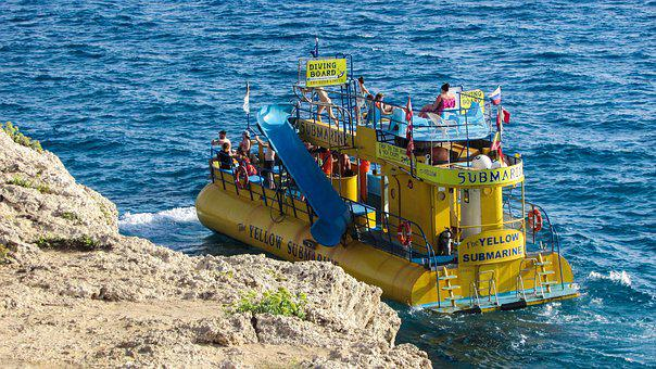Submarine, Yellow, Boat, Tourism, Sea, Vacation