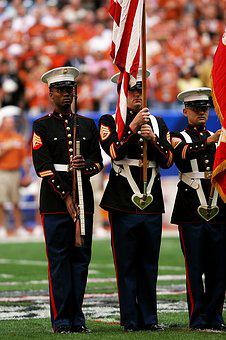 Honor Guard, Sporting Event, Flags, Uniforms