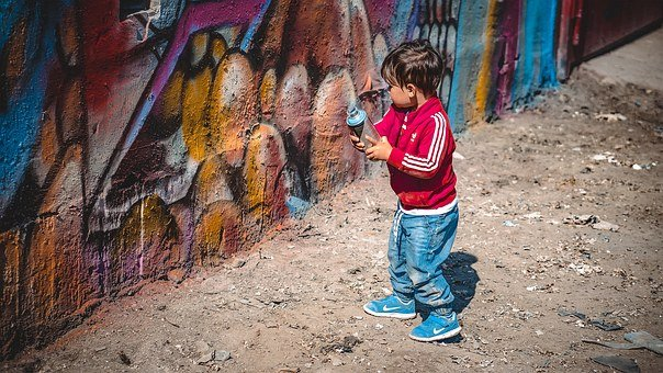 Kid, Boy, Spray, Can, Paint, Graffiti, Child, Young